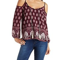 COLD SHOULDER TASSEL TIE BORDER PRINT TOP