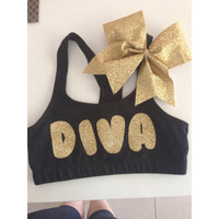 Matching custom glitter cheer bow and crop/sports bra set