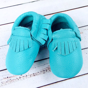 Aqua Fringe infant turquoise one 1st Birthday photography invitation ideas infant Moccasin crib shoes for baby