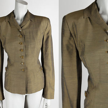 Vintage 50s Blazer / 1950s Gold Sharkskin Rayon Plus Size Suit Jacket XL