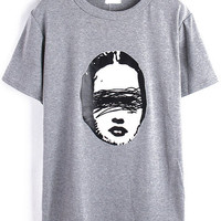 Grey Girt Print Short Sleeve Graphic T-Shirt