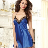 Satin and Sequins Charmeuse Halter Chemise