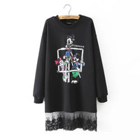 Stylish Round-neck Long Sleeve Cartoons Print Lace Mosaic Tops Hoodies [4918985924]