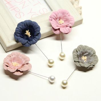 4 Color Fashion Men Brooch Flower Lapel Pin Suit Boutonniere Fabric Yarn Pin Button Stick Flower Brooches for Wedding Fly Bra