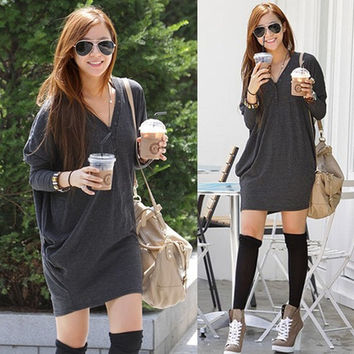 Casual Women T Shirt Batwing Sleeve V-neck Loose Long Sleeve Button Tops Blouse Long T-Shirt G0394 One Size = 1932497412