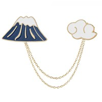 Fashion Mountain Cloud with Chain Pins Brooch Badge Pin Denim Jacket Collar Lapel DIY Brooches for Girls Kid Cartoon Jewelry Hot