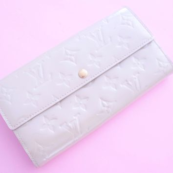 Marshmallow Louis Vuitton Clutch Long Wallet Ivory Monogram Genuine Authentic