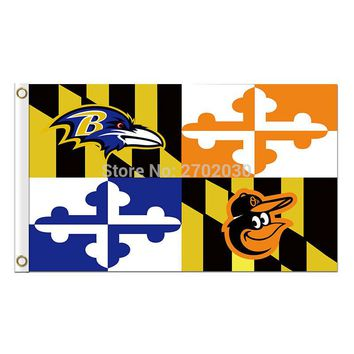 Cartoon Baltimore Ravens Flag Banner Football Banners Super Bowl Champions World Series 90 X 150 Cm 100D Polyester Banner