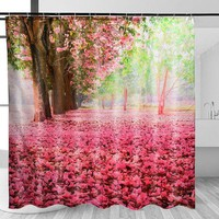 180x180cm Cherry Blossom 3D Fashion Pattern Fabric Waterproof Shower Curtain With Hooks