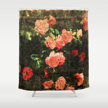 Vintage roses and scripts Shower Curtain by MJB photo design