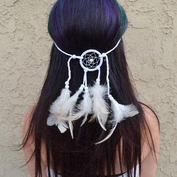 White Dreamcatcher Headband #A1009