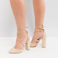 Truffle Collection Tie Up Block Heel Shoe at asos.com