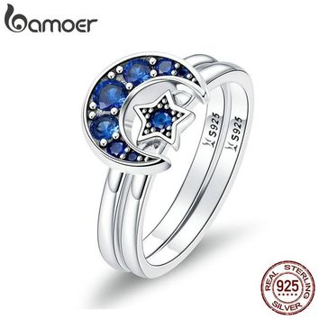 BAMOER Authentic 925 Sterling Silver Blooming Moon and Star Blue CZ Female Rings for Women Sterling Silver Jewelry Anel SCR412