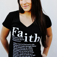 JCLU Forever Christian t-shirts — 011-FAITH DEFINED V Neck-Christian T-shirt