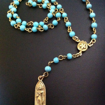 Red Gypsy Jewelry  Buddha Rosary Style Necklace Blessed Angels Saints Turquoise and Gold Spiritual Virgins Saints  Jewelry