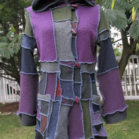 "Travelers Patchwork Elfin Coat ""MIDNIGHT MOONLIGHT""  Upcycled Woodland Fairy Coat size Small"