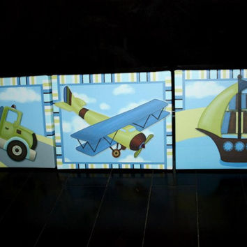 Set of 3 CANVASES Mosaic Transport Transportation Tow Truck Boat Plane Boys Bedroom Baby Boy Nursery Art on Stretched CANVAS Wall Art 3CS051