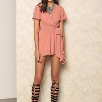 Coral Faux Wrap Ruffle Romper