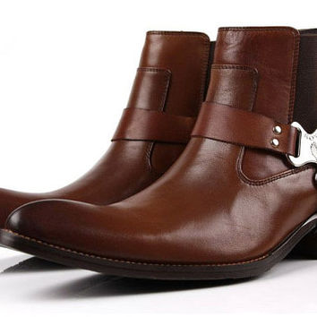 NEW 2014 men's genuine leather shoes , men boots ,men flats , casual men american west of cowboy boots free shipping+Gift