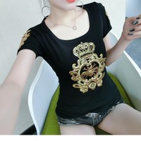 Fashion Casual Sequin Embroidery Crown Pattern Print Round Neck Short Sleeve T-shirt