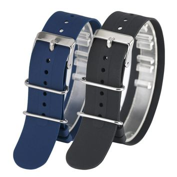 1PCS 18mm/20mm/22mm Diving Silicone Watchband Replacement Sport Waterproof Pin Buckle Military Watch Strap for Outdoor Watch