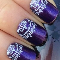 NAIL ART WRAP WATER TRANSFER DECALS WHITE ROSES/FLORAL LACE DESIGN #163