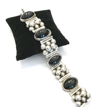 Mexican Silver & Onyx Panel Bracelet, Panel of Large Sterling Silver Bead Clusters Alternate Oval Onyx Cabochons, Handcrafted, Gift for Her