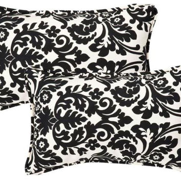2 Black And Cream Damask Throw Pillows - Uv Resistant Which Make Them Perfect For Indoor Or Outdoor Use