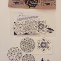 Sacred Geometry Temporary Tattoo Pack - Flower of Life, Metatron's cube, crystals