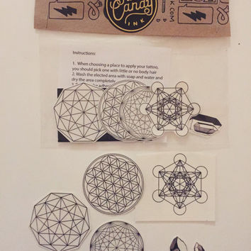 21d920369 Sacred Geometry Temporary Tattoo Pack - Flower of Life, Metatron's cube
