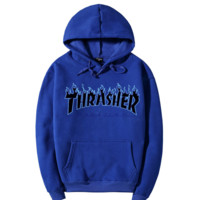 """Thrasher""Fashion Flame skateboard leisure loose hooded sweater Blue"