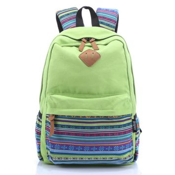 Fruit Green Stylish Ethnic Rucksack Canvas Backpack Travel Bag Daypack
