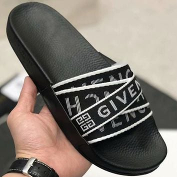 Givenchy 2019 new color logo with flat-bottomed slippers #3