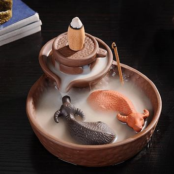 2 Cattles Mill Cone Incense Burner Purple Clay Smoke BackFlow Incense Sticks Holder Lucky Animal Censer for Tower Incense