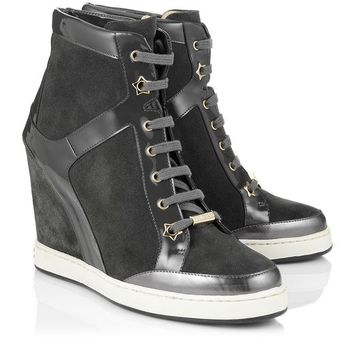 Smoke Suede and Patent | Fashionable Wedge Sneakers | Panama | JIMMY CHOO Sneakers