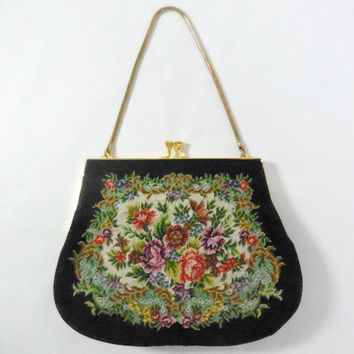 Sweet 1950's tapestry handbag // vintage 50's floral tapestry purse // needlepoint bag // French vintage