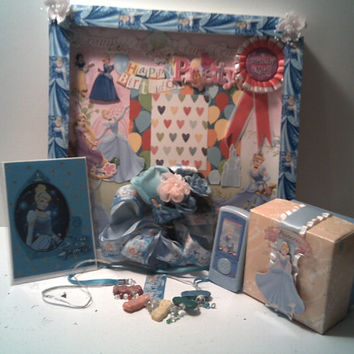 CINDERELLA BIRTHDAY Gift Set With Picture Frame, Scented Gummy Bear NECKLACE, Cinderella Toy Cell phone. Cinderella Gift Box and Card