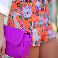 RESTOCK Brightest Bouquet Shorts: Neon Orange | Hope's
