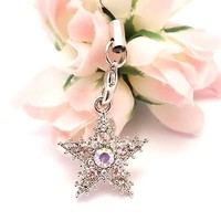 Clear Snow Star Cell Phone Charm Strap Rhine Stone