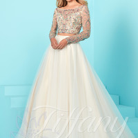 Tiffany Designs 16256 Long Sleeved Crop Top Prom Dress