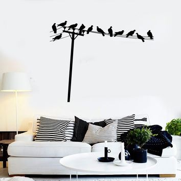 Vinyl Wall Decal Birds on Telephone Wires House Interior Stickers Unique Gift (ig4118)