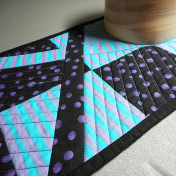 Purple Black Quilted Table Runner, Modern quilt improv table topper, Turquoise purple black home decor, small quilted runner, polka dot spot