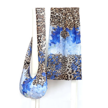 Set of Bag and Scarf, Silk Soft Bag, Silk Scarf Blue Flowers and Leopard Pattern, Ladies Bag and Scarf Set, Gift Set for Women