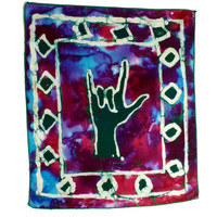 I Love You ASL Batik Wallhanging - African Wax Print Support Schools Deaf
