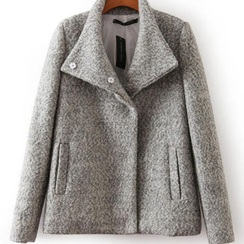 Long Sleeve Collared Woolen Coat