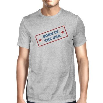 Born In The USA American Flag Shirt Mens Grey Graphic Tee Shirt