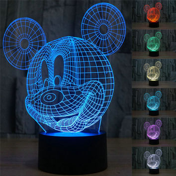 3D Table Lamp Creative Arcylic Mickey Mouse LED Night Light
