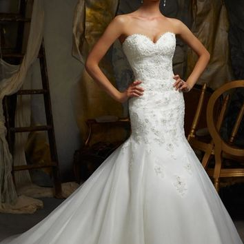 Blu by Mori Lee 5106 Beaded Strapless Fit and Flare Wedding Dress