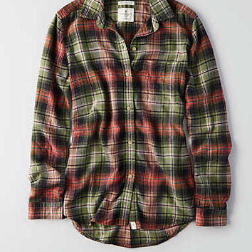 AEO Ahh-mazingly Soft Boyfriend Plaid Shirt , Green