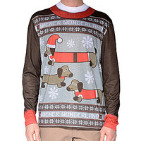 Faux Real Ugly Christmas Sweater Wiener Dog Wonderland Long-Sleeve Tee